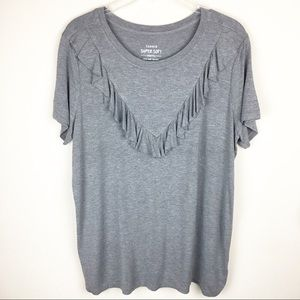 Torrid Super Soft Gray Ruffle Knit Top Plus Size 1